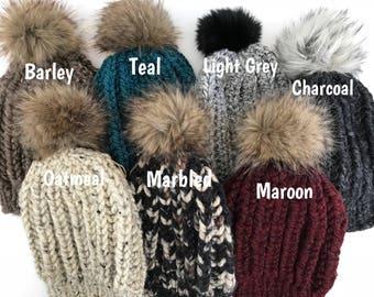 Chunky Knit Hat with Faux Fur Pompom, Pompom Hat, Ladies Hat, Faux Fur, Pom pom, Bulky Hat, Winter Beanie