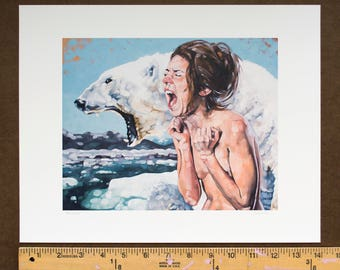 """Fine Art Print, Archival Print, Giclee Print of Figurative Painting of Screaming Nude Female and Polar Bear - """"Meltdown"""""""