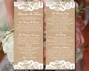 Vintage Lace Wedding Program Template Download | Kraft Ceremony Program | Order of Service Template | Printable Tea Length Wedding Program