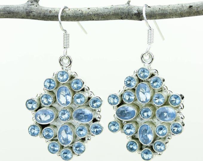 Swiss Blue Topaz 925 SOLID (Nickel Free) Sterling Silver Italian Made Dangle Earrings e650