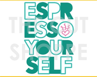 The Espresso Yourself cut file can be used for your scrapbook and papercrafting projects.