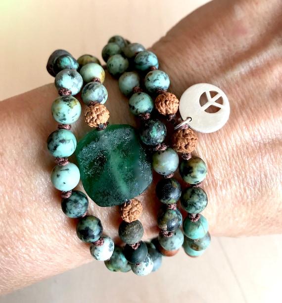 African Turquoise Bracelet - 108 Mala Beads - Boho Jewelry - Protection Mala Beads - Rudraksha Mala Beads - Yoga Gifts - Roman Glass Jewelry