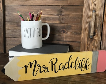 Personalized Teacher Sign • Pencil • Desk Accessory • Name Sign • Education • School • Gift