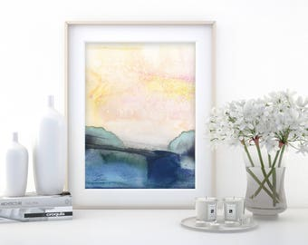 "Abstract Watercolor Painting, soft, Serene, Peaceful, Tranquil, Original art ""Ethereal Travels 6"" Kathy Morton Stanion EBSQ"