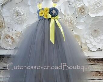 Gray Flower Girl Tutu Dress-Gray Flower Girl Tutu-Gray Girl Tutu-Gray Tutu-Gray Baby Tutu.Gray Wedding Tutu.Gray dress