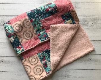 Handmade Baby Quilt / Blanket - Pretty Pink Patchwork