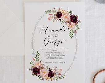 Wedding Invitation Set, Printable Wedding Invitations, Bohemian Wedding Invite, Floral Watercolor Invites, Marsala Wreath Invitation Set