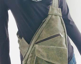 Crossbody Bag Olive Distressed Leather Handbag