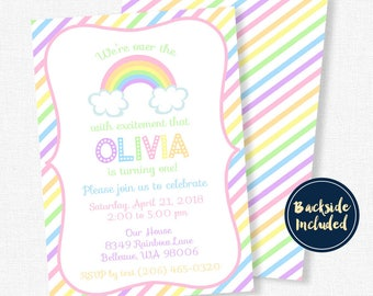 Rainbow Party Invitation, Pastel Rainbow Invitation, Rainbow Birthday Invitation, Over the Rainbow Party