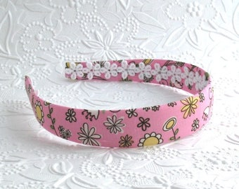 Girls Pink Fabric Covered Headband ~ Pink and Yellow Floral Girls Headband ~ Plastic Headband ~ Girls, Adults, Women