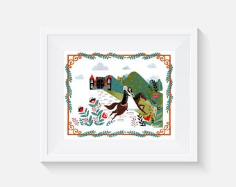 The Princess and the Pea on a Horse Giclee Art Print 8x10