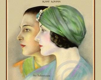 Art Deco Classic Icon Print, Rudolph Valentino and Wife, Natacha Rambova, silent screen, motion picture, 1923, Giclee Fine Art Print 11x14