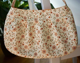 Pleated Fabric Purse, Large - Yellow, Orange Flowers - Buttercup bag, cotton, handbag, floral, yellow, orange, large, purse, pleats, flowers
