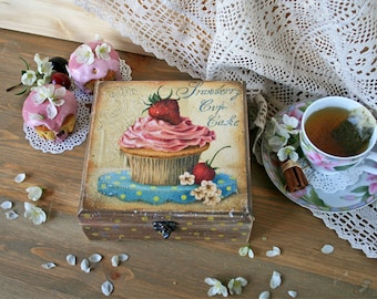 Tea bags box Wooden food box Tea Container Food Storage Tea box holder Wood kitchen box Candy Vintage look Box Strawberry cupcake Sweet gift
