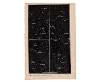 c. 1884 CONSTELLATION PRINT - antique astronomy print - horizon at midnight in July August & September - star print - capricorn sagittarius