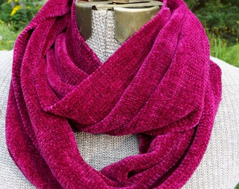 Handwoven Rayon Chenille Mobius Infinity Scarf in Fuchsia