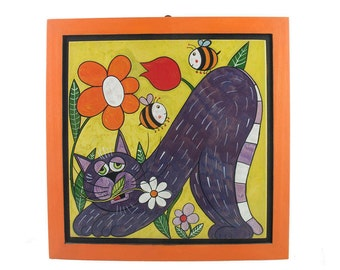 Painting 40 x 40 cm with cat and orange frame-cats Style