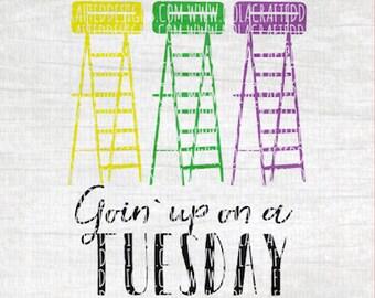 Mardi Gras Svg Cut File - Happy Mardi Gras Svg Cut File - Fat Tuesday Svg Cut File - Ladder Seat Svg Cut File - Mardi Gras Ladder Svg