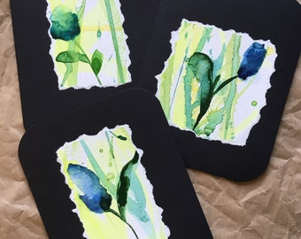 Blue flower abstract original hand painted watercolor greeting card blank inside set of three