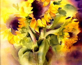 Sunflowers Art Watercolor Painting Print by Connietownsart, Floral Watercolor, Sunflowers Art, Gift for Her