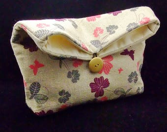 Foldover clutch, Fold over bag, clutch purse, evening clutch, wedding purse, bridesmaid gifts - Flowers and butterflies (Ref. FC21)
