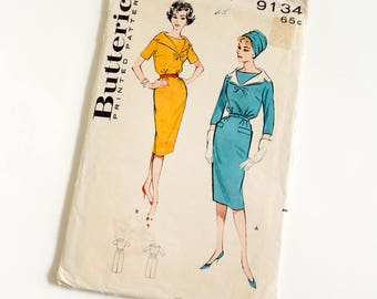 Vintage 1960s Womens Size 12 Slim One Piece Day Dress Butterick Sewing Pattern 9134 Complete / bust 32 waist 25