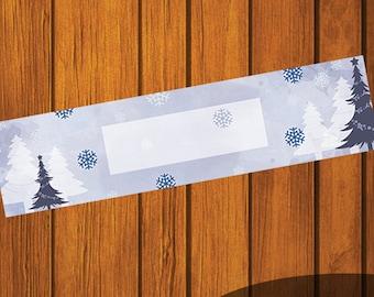 Blank Mason Jar Printable Label / Winter / Snowflakes / Mason Jar / Instant Download / Digital Download / Christmas Trees / Blue / Printable