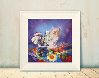 White Cat Art Print. 12 x 12 or 16 x 16. Pet Portrait. Ideal for Cat Lovers. Signed Giclee Print.