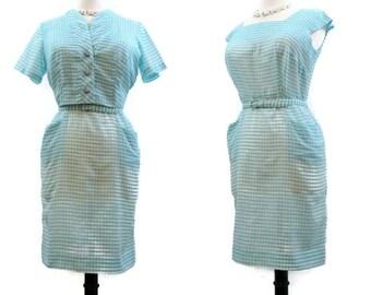 Vintage 50s Dress Gingham Cotton Wiggle Sheath Bolero Jacket Rockabilly L