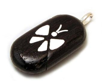 Illusionist Locket Butterfly-Flower Handmade Wenge Wood