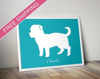 Personalized Morkie Silhouette Print with Custom Name - Morkie gift, dog art, dog poster
