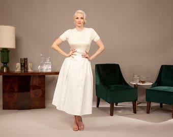 White Full Skirt Circle Skirt 1950s Style Skirt Full Sweep Pleated Vintage Skirt Vintage Inspired Audrey Hepburn Style