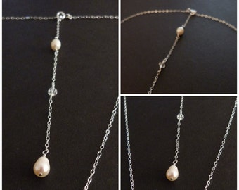 Pearl bridal back-drop necklace for weddings, only 2 left