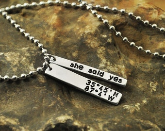 New Year Gift alloy  necklace Latitude and Longitude Necklace - Cluster Necklace - personalized coordinates necklace