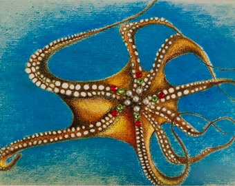 Octopus Christmas Card/Pearls/Swarovski/Turquoise/Unique Christmas/Holiday Card/Beach Holiday Card/Costal Holiday Card/One of a kind Card