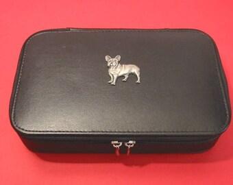 French Bulldog Motif On Travel Jewellery Box Travel Gift Jewelry Case Dog Gift Christmas Gift