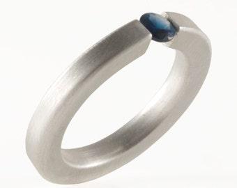 Simple Sterling Silver Minimalist Ring 4 mm Sapphire, Tension Setting , Engagement  Gemstone Ring , Stacking Ring Matte VIDA