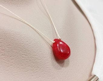 Ruby Red  Necklace - SmoothTeardrop Briolette, Floating Gemstone, July Birthstone, Silk String Necklace