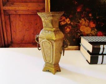 Vintage Chinoiserie Brass Vase, Ming Style Brass Vase, Brass Decor, Chinoiserie, Brass Vessel, Etched Brass Vase