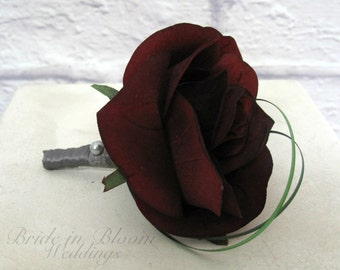 Boutonniere, Red black rose boutonniere, Wedding boutonniere
