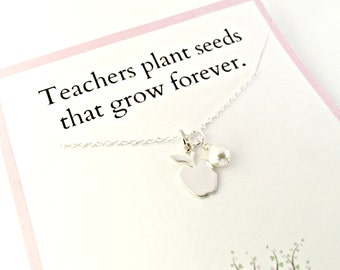 Teacher Gift - Sterling Silver Apple Necklace with Pearl - Teachers Plant Seeds that Grow Forever - Appreciation, End of the Year Class Gift