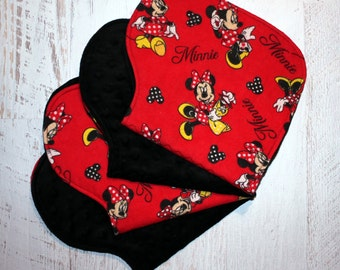 Burp Cloth Baby Shower Gift Set of Four Contoured Burp Cloths, Burp Rags, Gift for Girl Minnie Flannel Black Minky, Absorbent