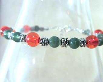 Red & Green Glass Bead Anklet w/Silver Accents, Christmas Anklet, Ankle Bracelet, Glass Bead Anklet, Handmade Beaded Jewelry, Cinco de Mayo