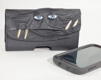 Phone Case Pouch Black Leather Phone Accessory Extra Large