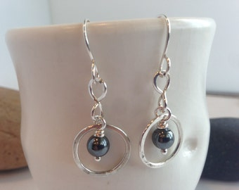 Small Hammered Silver Hoop Earrings Sterling Silver Hand Forged Metal Jewelry