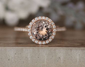 8mm Round Morganite Engagement Ring,Rose Gold Engagement Ring, Promise Ring, Diamond Wedding Band, Half Eternity Band 14k Rose Gold