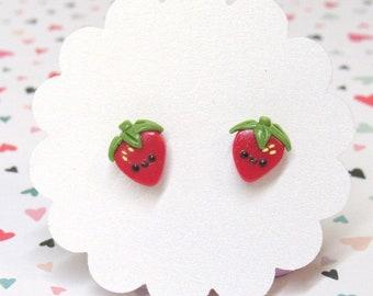 Strawberry Earrings, Kawaii Stud Earrings, Red Earrings, Hypoallergenic Posts, Fruit Earrings, Cute Earrings, Food Earrings, Girls Earrings