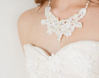 SALE The Annaleise Crystal Encrusted Lace Statement Necklace