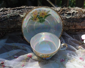 Vintage Tea Cup and Saucer Pearlized Daffodils design.