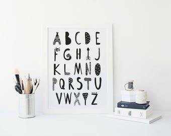 Alphabet ABC Wall Art, Alphabet Poster, Monochrome Nursery Print, Alphabet Printable, Alphabet Nursery Wall Decor, Scandinavian Nursery Art